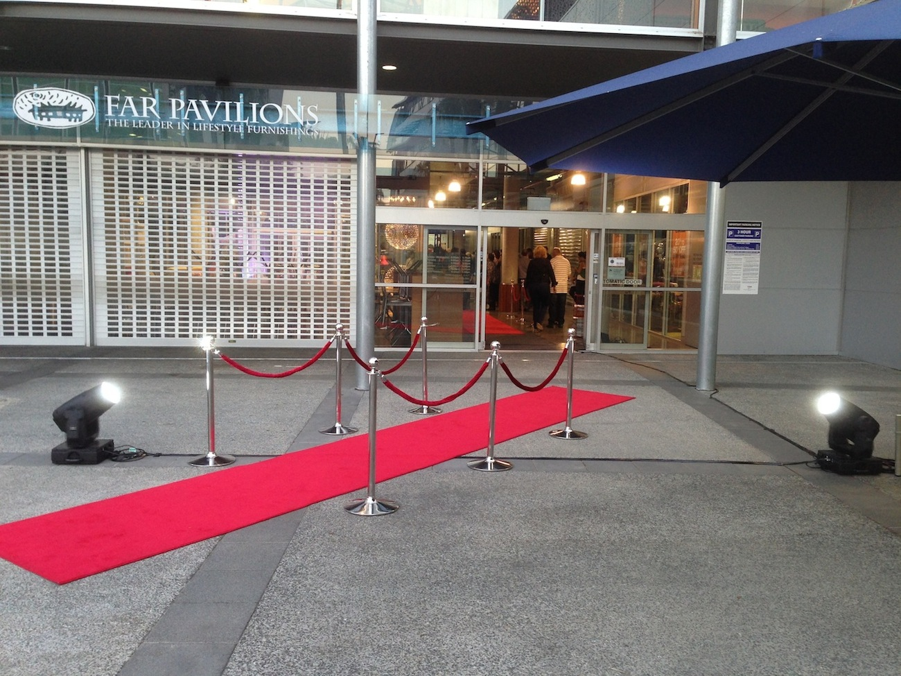 Setting up red carpet