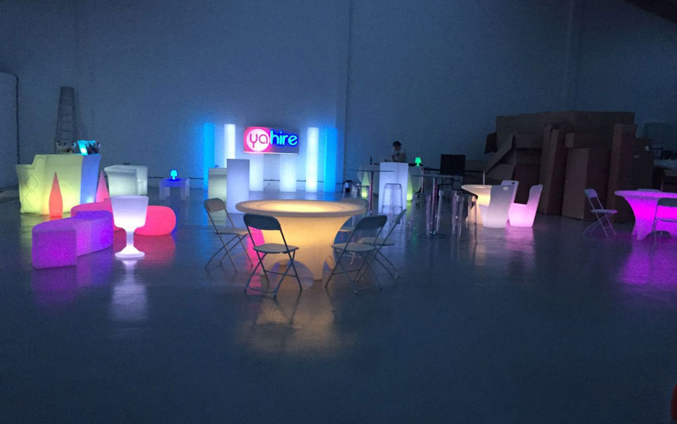 Look at our new led range we have chairs tables for Mobilia furniture hire