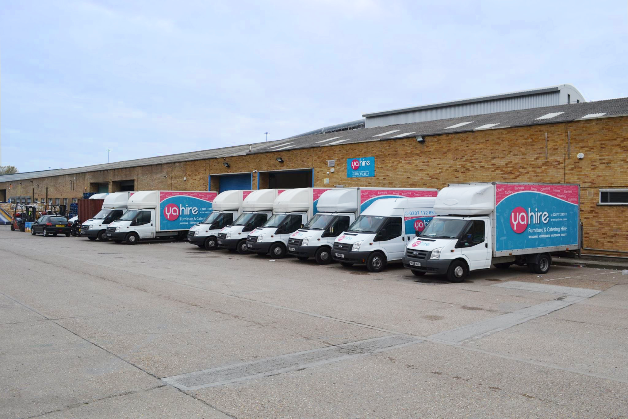 Fleet Of Yahire Vans At our London warehouses